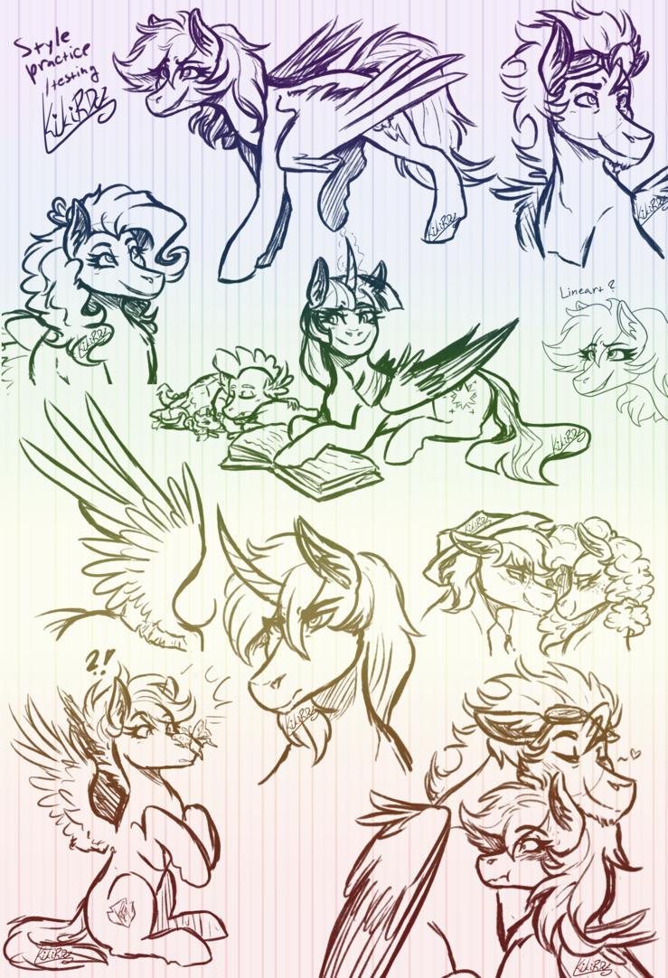 transparent download Linear drawing practice. Mlp sketch style testing