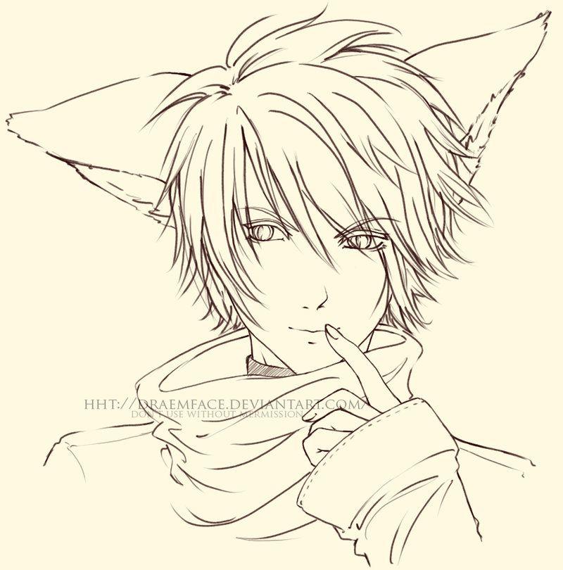 jpg download Fox by draemface on. Lineart drawing boy