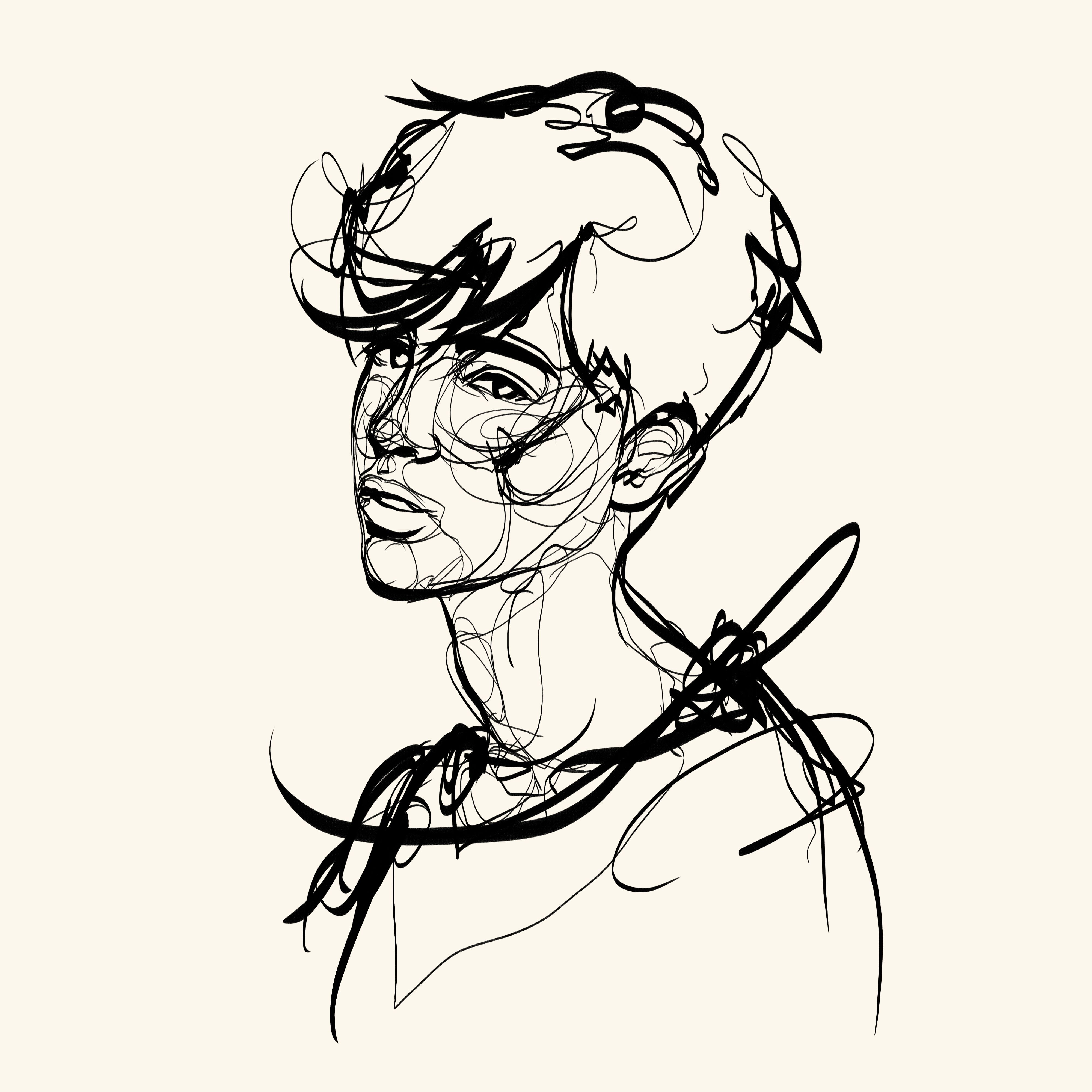 clip black and white library Lineart drawing boy. Adrian portrait illustration