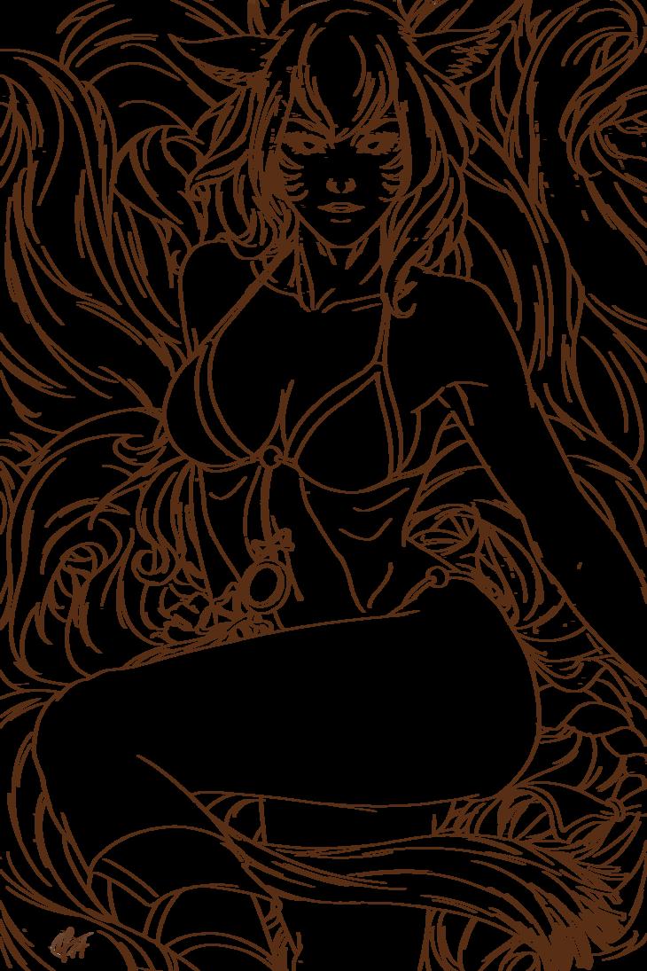 banner free Ahri Line Art by AivaBlue on DeviantArt
