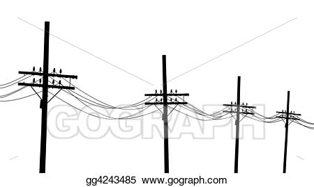 jpg black and white Lines clipart telegraph. Stock illustrations poles .