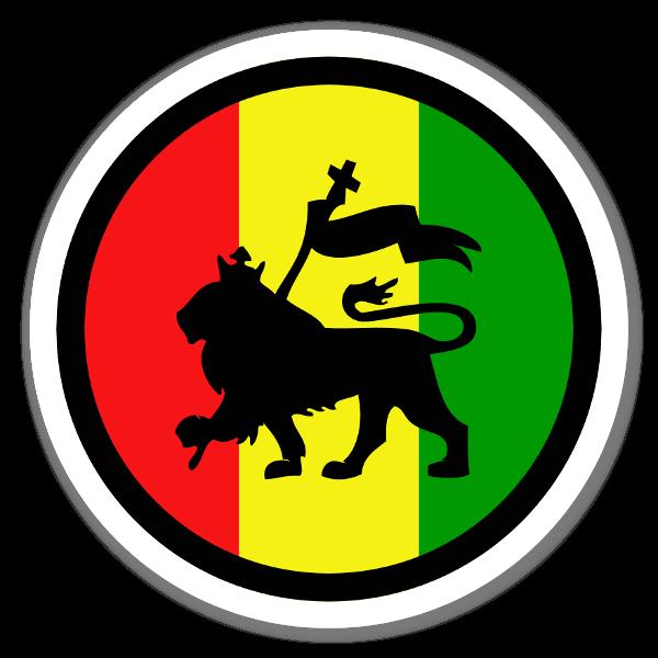 clipart download Lions clipart reggae. Rasta lion round sticker.