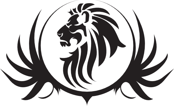 banner Lion head black and. Yoyo clipart vector