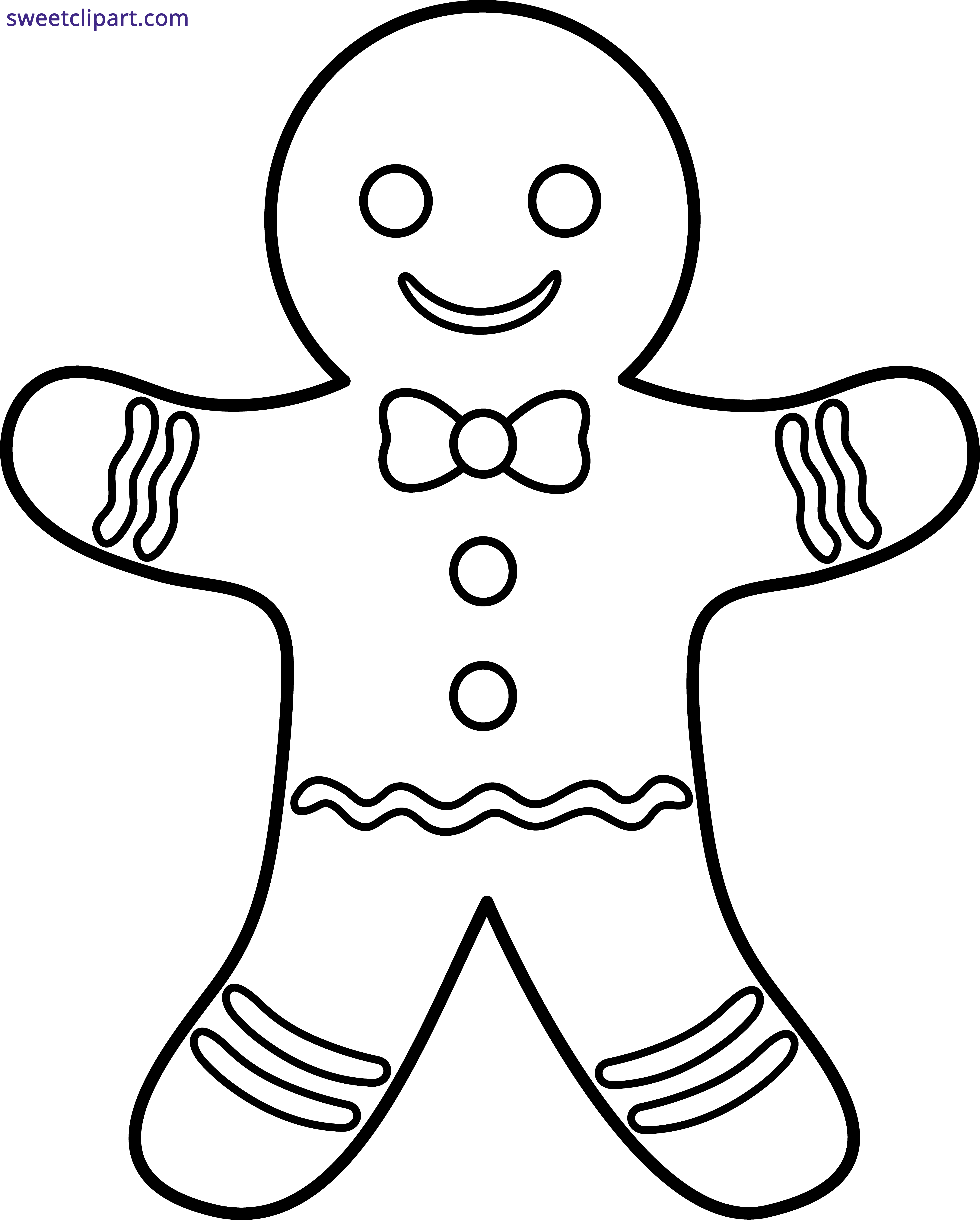 banner black and white library Gingerbread man clipart black and white. Outline sweet clip art