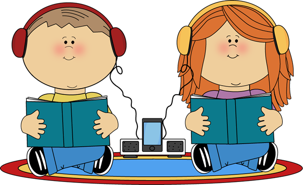 clip freeuse School Kids on Rug Listening to Books Clip Art