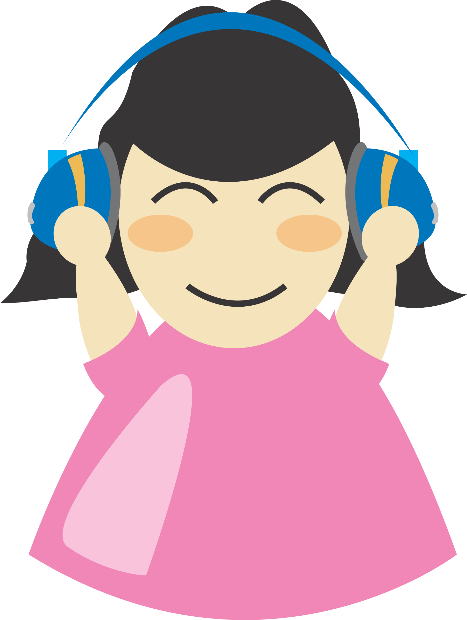 picture black and white library With headphone big image. Listen clipart girl.