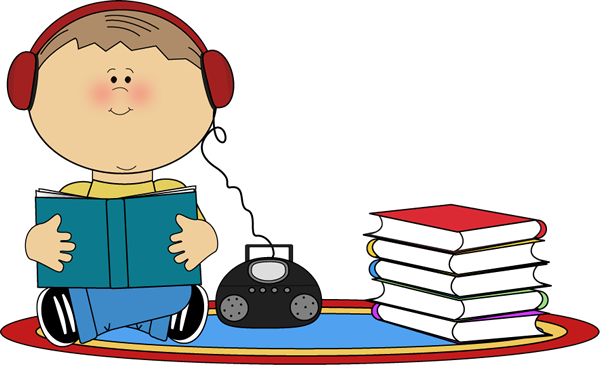 vector royalty free library Listening clipart boy. To book on cd.