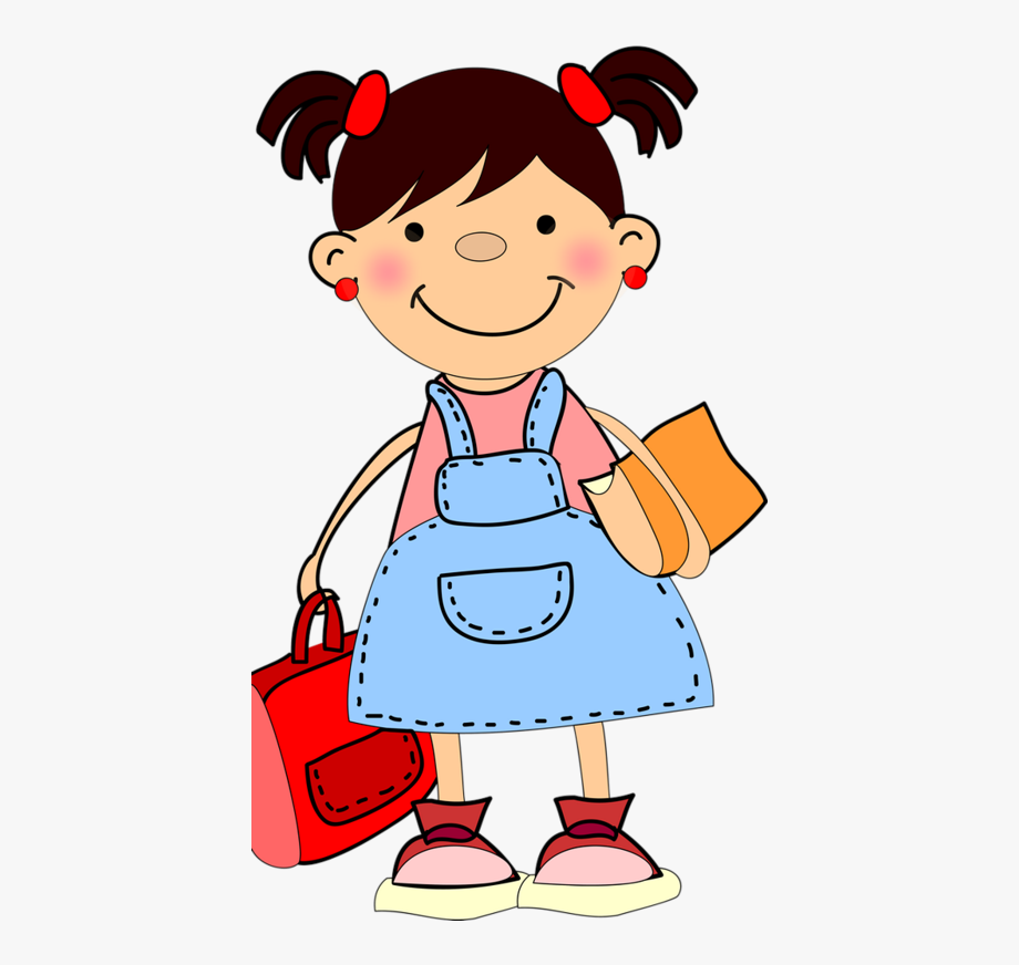 svg black and white library Little clipart. Girl student school