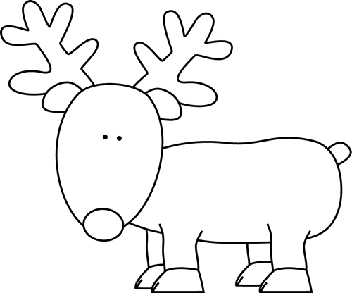 clipart freeuse download Clip art image. Reindeer clipart black and white