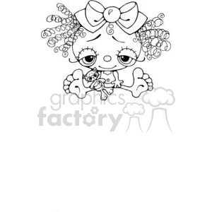svg royalty free Little clipart small. Cartoon girl doll with.