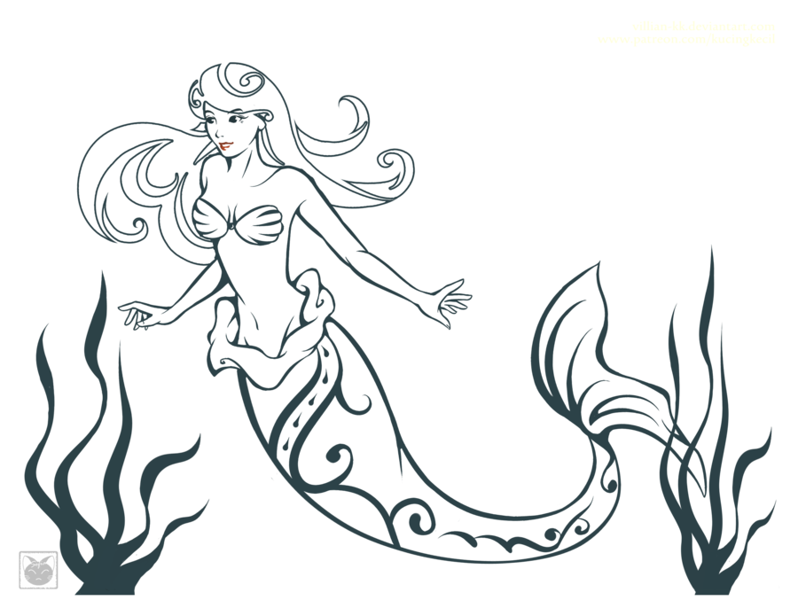 clip transparent Mermaid Line Drawing at GetDrawings