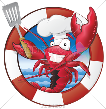 graphic free library Stock Illustration of Cute cartoon red lobster chef inisde striped