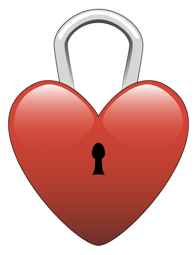 graphic free download Lock clipart heart. .