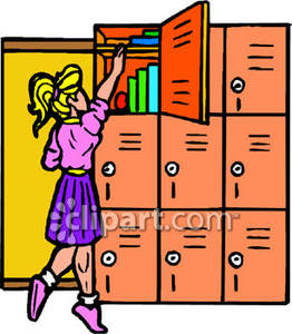 clipart royalty free library Schoolgirl reaching up to. Locker clipart top.