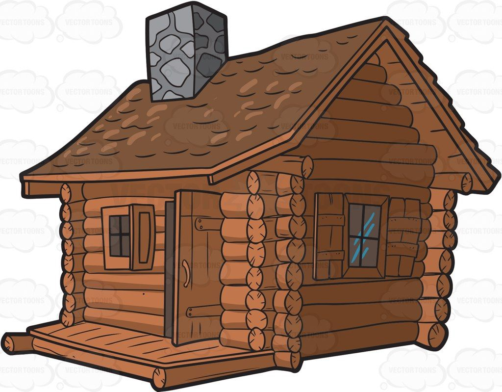 vector royalty free download Log cabin clipart. A with chimney vector.