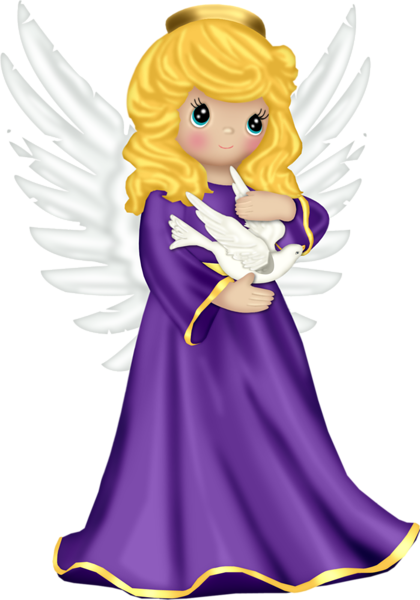 banner library stock Cute with purple robe. Logo clipart angel.