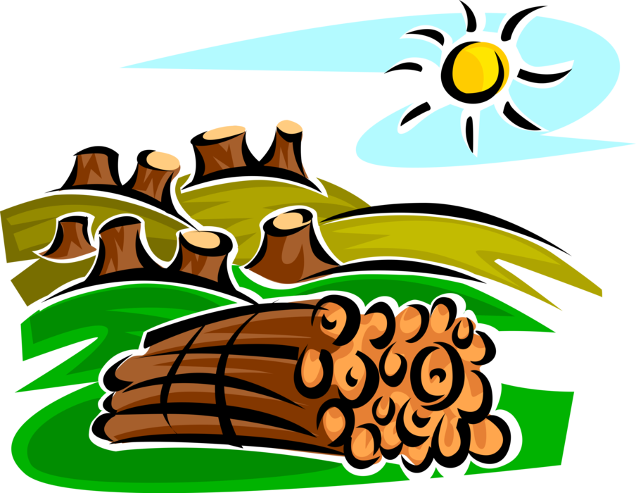 banner Logs clipart vector. Clearcutting deforestation stumps and.