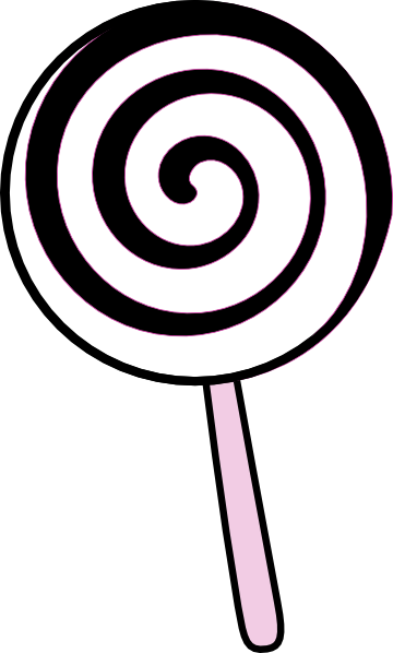 clip black and white Black and white . Lollipop clipart.