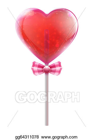 picture library download Stock illustration clip art. Lollipop clipart red heart