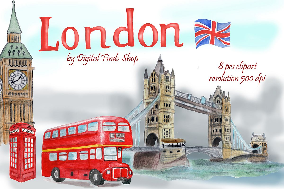 vector stock London clipart. Symbols and landmark tower.