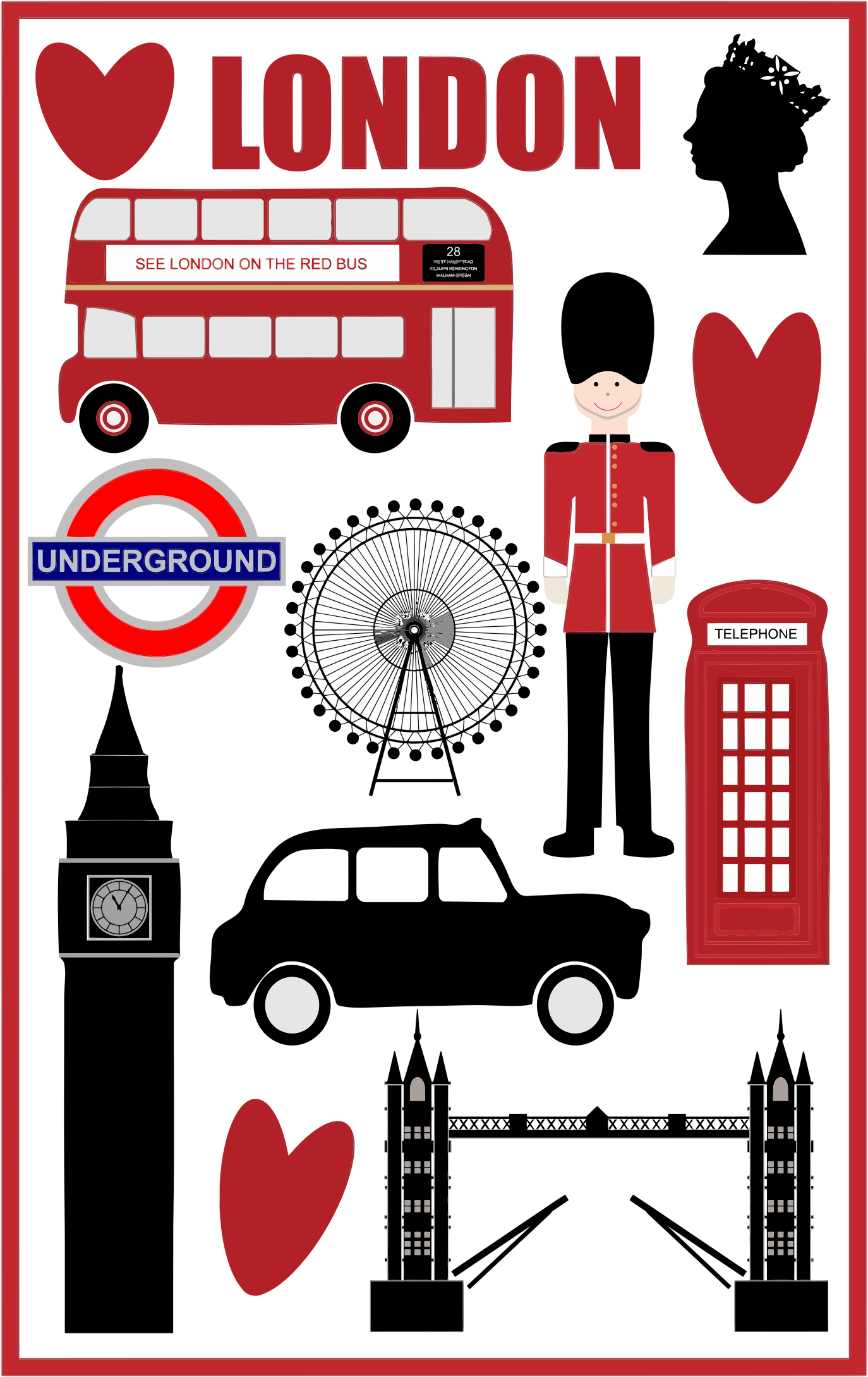 image black and white Love big image png. London clipart.