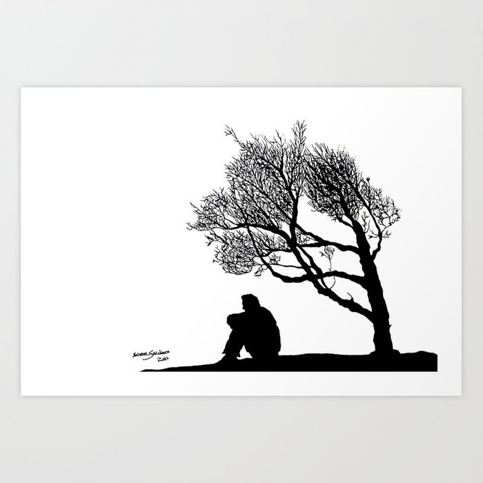 image royalty free download Lonely at paintingvalley com. Drawing silhouette black and white