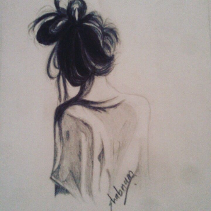 clip royalty free download Pencil sketch of alone girl