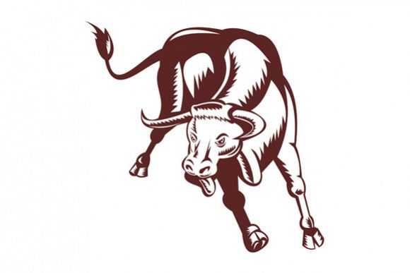 svg royalty free stock Angry Texas Longhorn Bull Charging