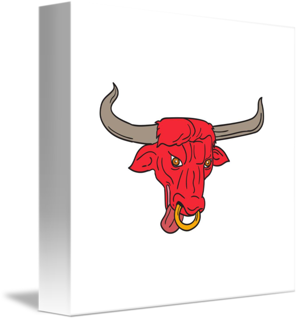 clip black and white Texas Longhorn Red Bull Drawing by Aloysius Patrimonio