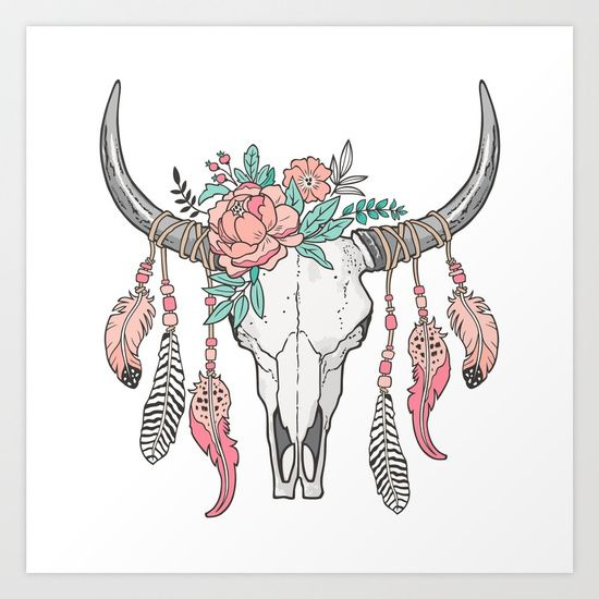 black and white library Boho Longhorn Cow Skull with Feathers and Peach Flowers Art