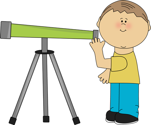 graphic freeuse download Looking clipart telescope. Boy through a space.