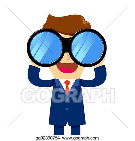 clip transparent stock Eps illustration businessman binocular. Looking through binoculars clipart