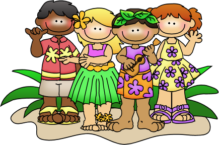 vector black and white Luau clipart hawaiian child. Little people storytime kids.