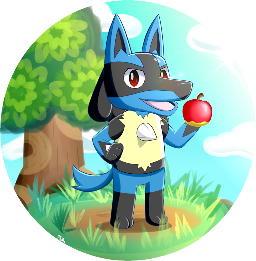 svg black and white stock Lucario in Animal Crossing Style
