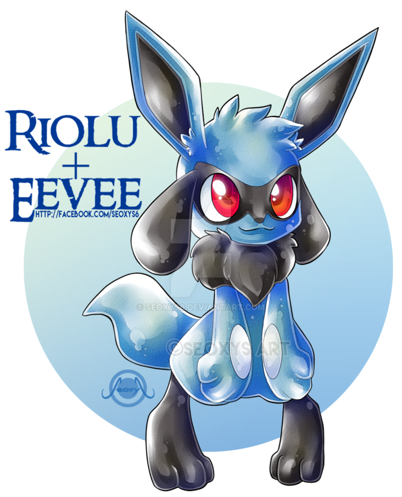 clipart black and white stock Riolu X Eevee by Seoxys