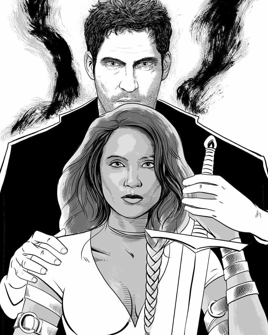 image black and white stock Morningstar on instagram artist. Lucifer drawing comic