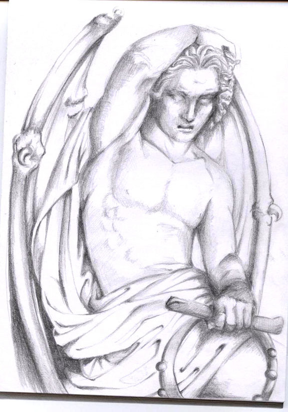 banner stock Lucifer drawing statue. Satan s sketch by