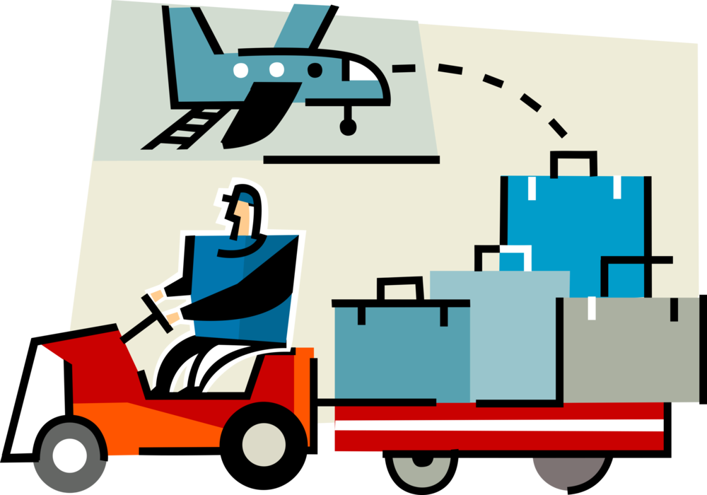 clip stock Baggage handler delivers to. Luggage clipart airport luggage.