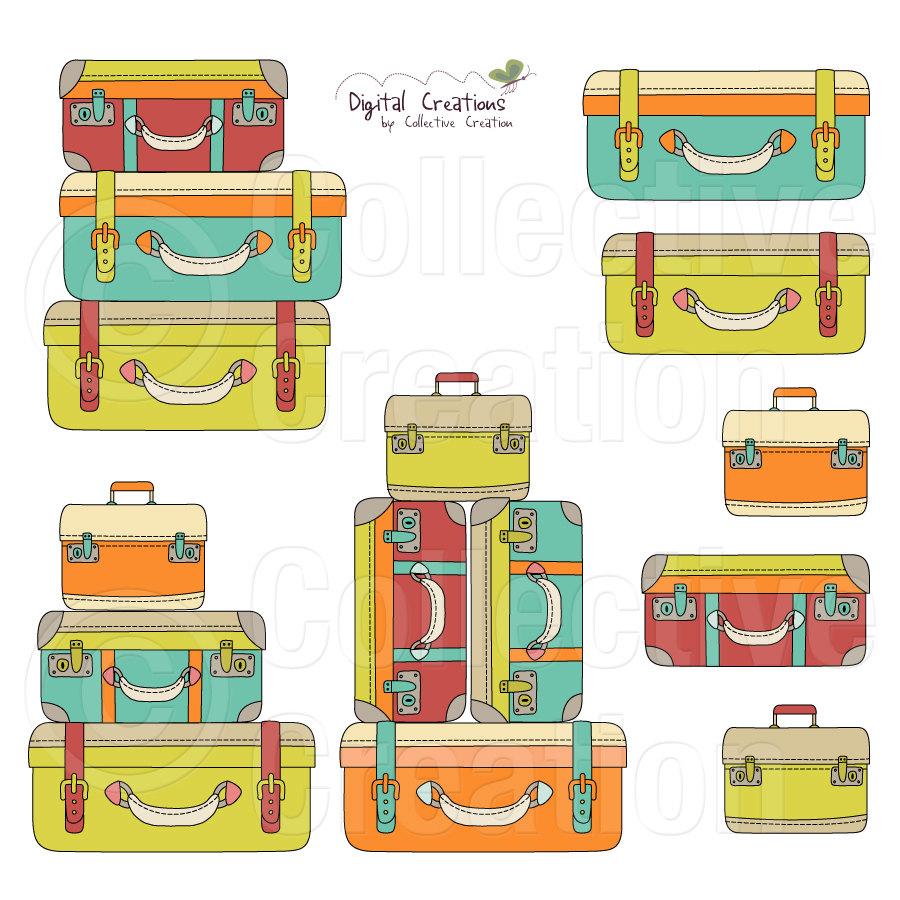 stock Luggage clipart border.  free clip art.