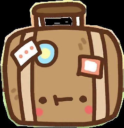 vector transparent stock Luggage clipart kawaii. Clawbert cute cartoon suitcase.