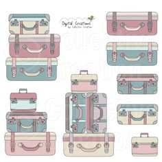freeuse download Luggage clipart stack. Suitcase digital clip art.