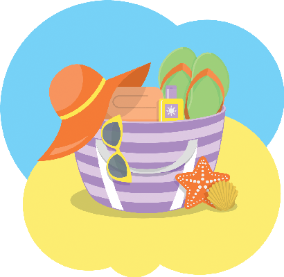 clip art freeuse stock Luggage clipart summer. Beach bag the arts.