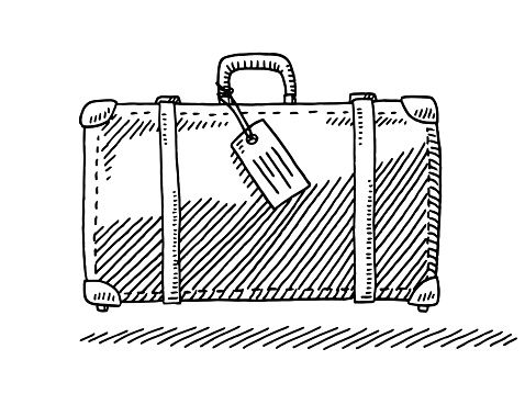 graphic Luggage drawing. Hand drawn vector of