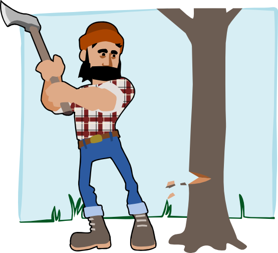black and white Lumberjack Clipart