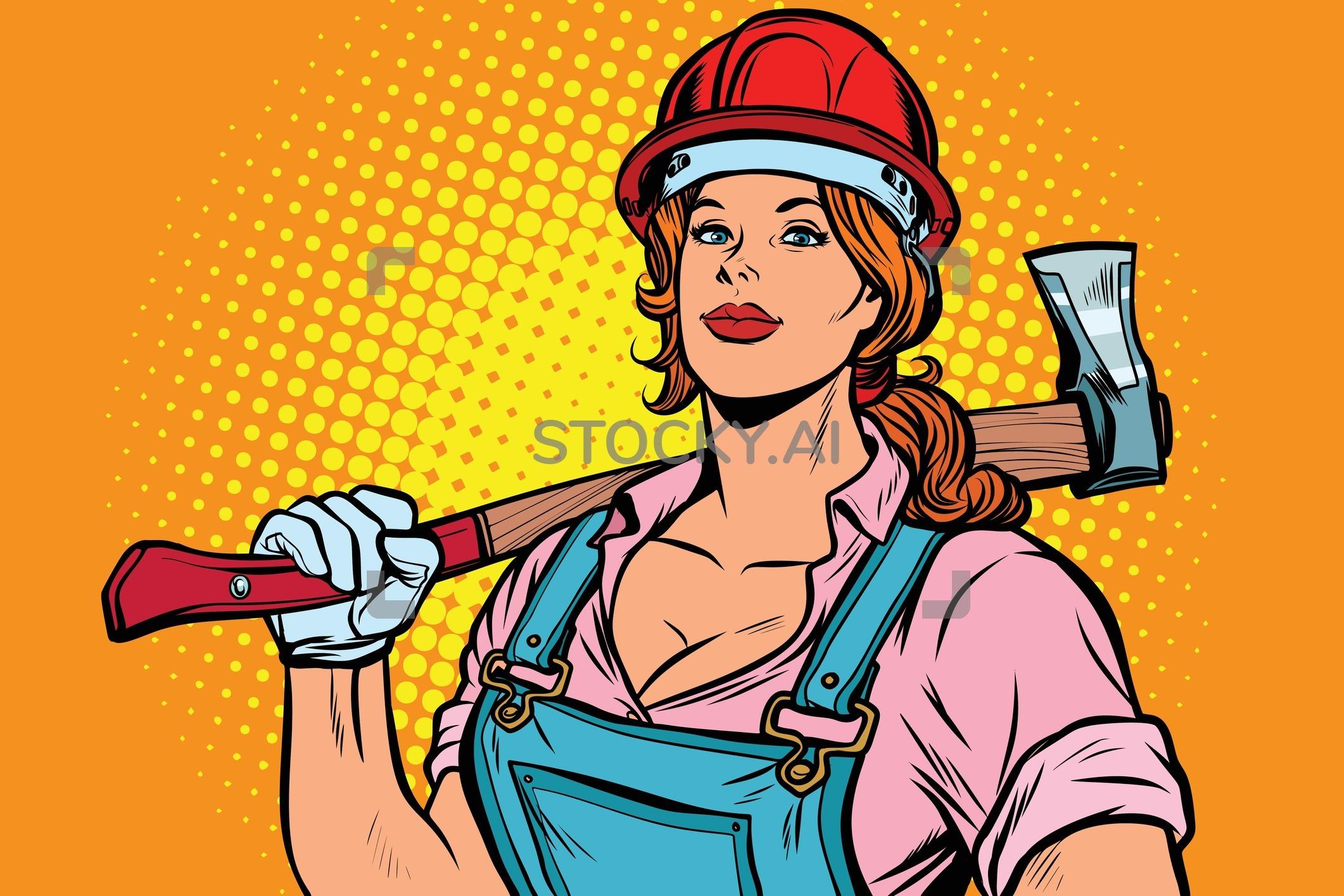 clip art free download Image of pop art. Lumberjack clipart female.
