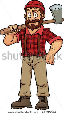 vector royalty free Lumberjack clipart logger. Cartoon images holding an.