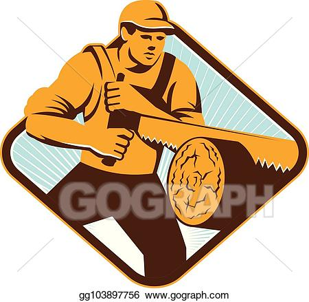 black and white download Lumberjack clipart logger. Vector crosscut saw retro.