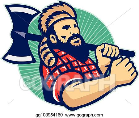graphic royalty free library Lumberjack clipart logger. Vector art with axe.