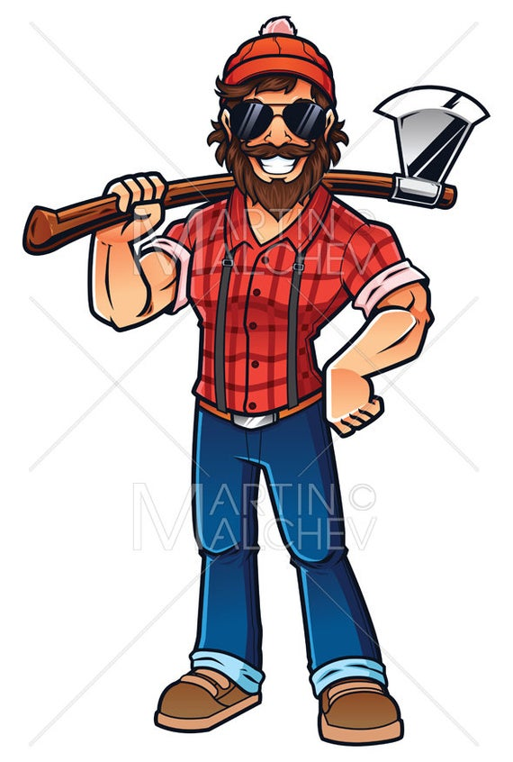 svg royalty free stock On white vector illustration. Lumberjack clipart logger.