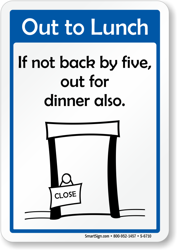 clip art freeuse Out of office template. Lunch clipart door sign.